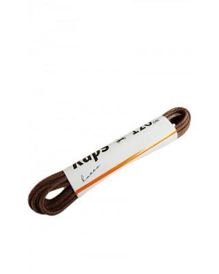 Brązowe okrągłe cienkie woskowane sznurówki do butów 120 cm Kaps