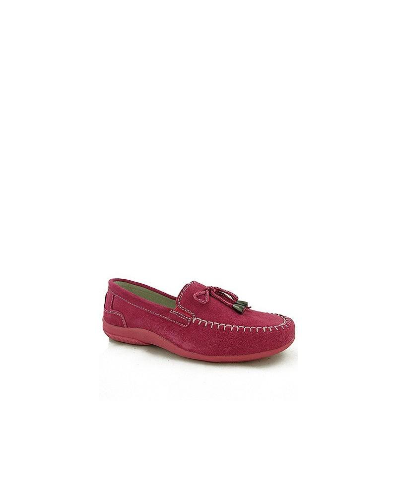 Skórzane zamszowe mokasyny różowe dziecięce 8693