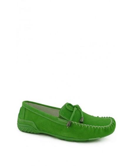 Zielone zamszowe skórzane mokasyny damskie American