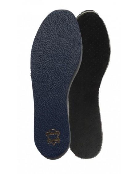 Wkładki do butów skórzane na lateksie męskie granatowe