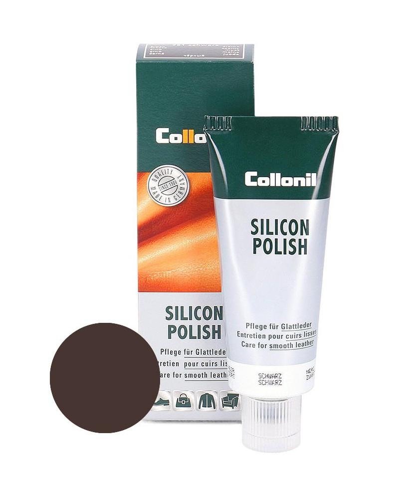 Ciemnobrązowa pasta do skóry gładkiej, Silicon Polish Collonil, 75 ml
