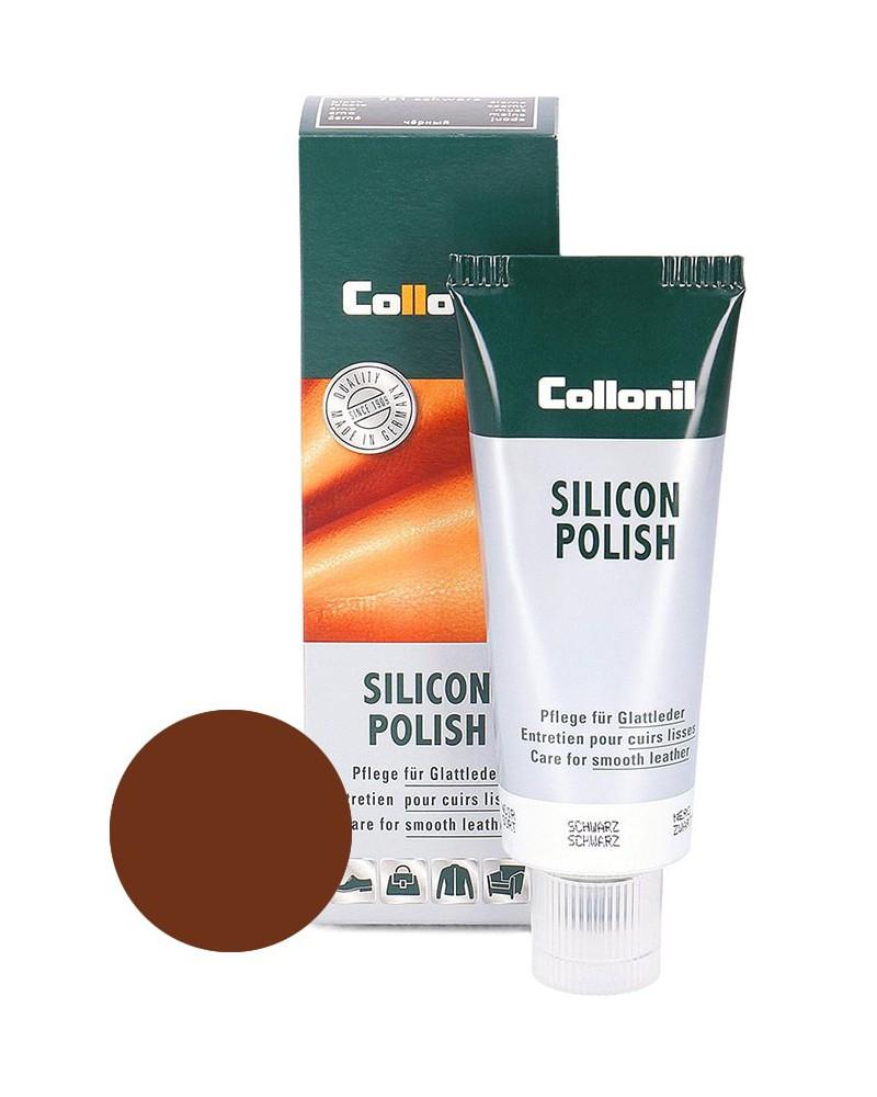 Brązowa pasta do skóry gładkiej, Silicon Polish Collonil, 75 ml