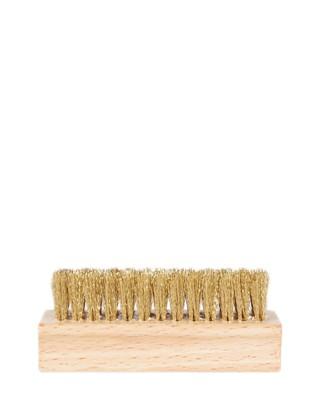Szczotka drewniana z mosiądzem, do czyszczenia zamszu, Kaps