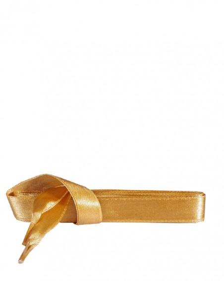 Satynowe, złote, płaskie sznurówki do butów, 120 cm, Kaps