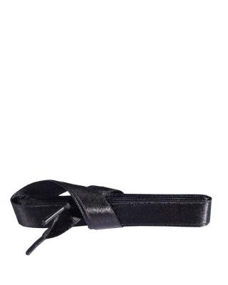 Satynowe, czarne, płaskie sznurówki do butów, 120 cm, Kaps