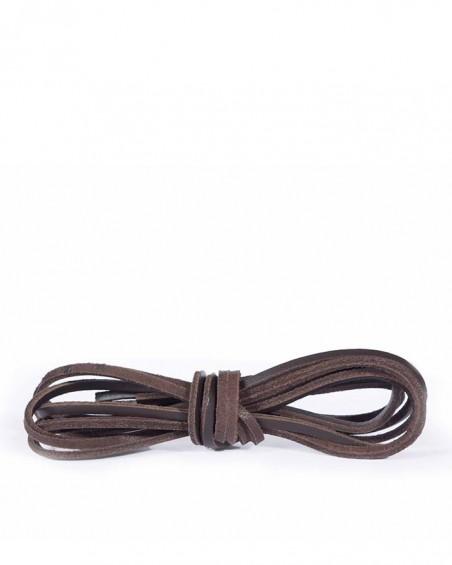 Ciemnobrązowe, skórzane sznurówki, rzemyki do butów, 140 cm, Kaps