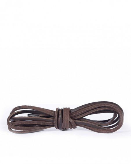 Ciemnobrązowe, skórzane sznurówki, rzemyki do butów, 120 cm, Kaps