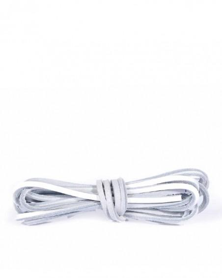Białe, skórzane sznurówki, rzemyki do butów, 120 cm, Kaps