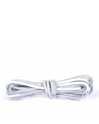 Białe, skórzane sznurówki, rzemyki do butów, 140 cm, Kaps