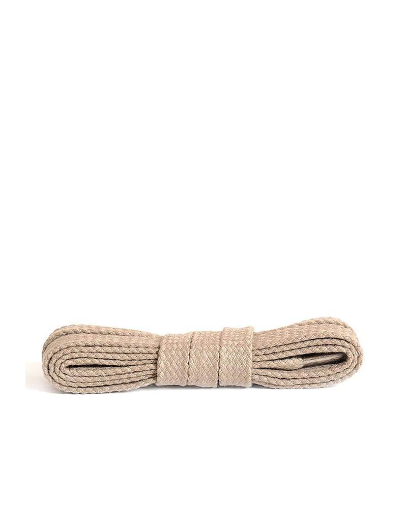 Jasnobeżowe, płaskie, bawełniane sznurówki do butów, 75 cm, Kaps
