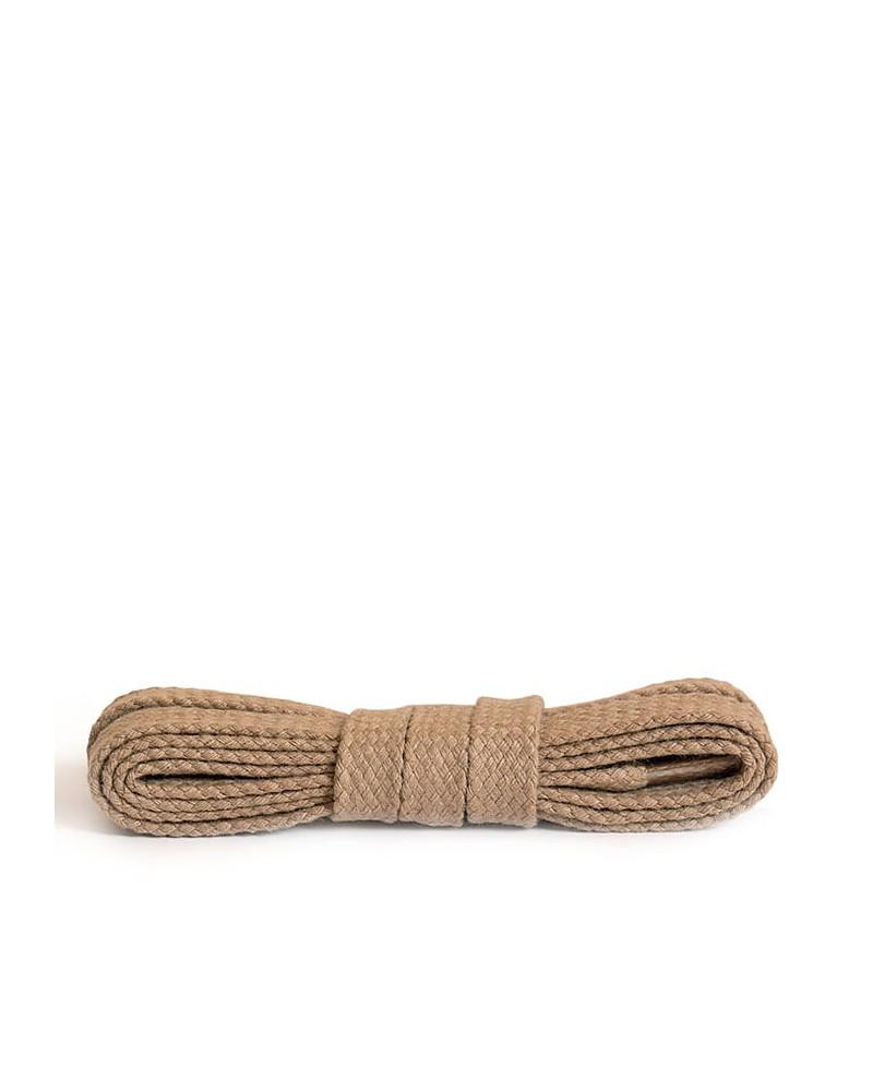 Beżowe, płaskie, bawełniane sznurówki do butów, 75 cm, Kaps