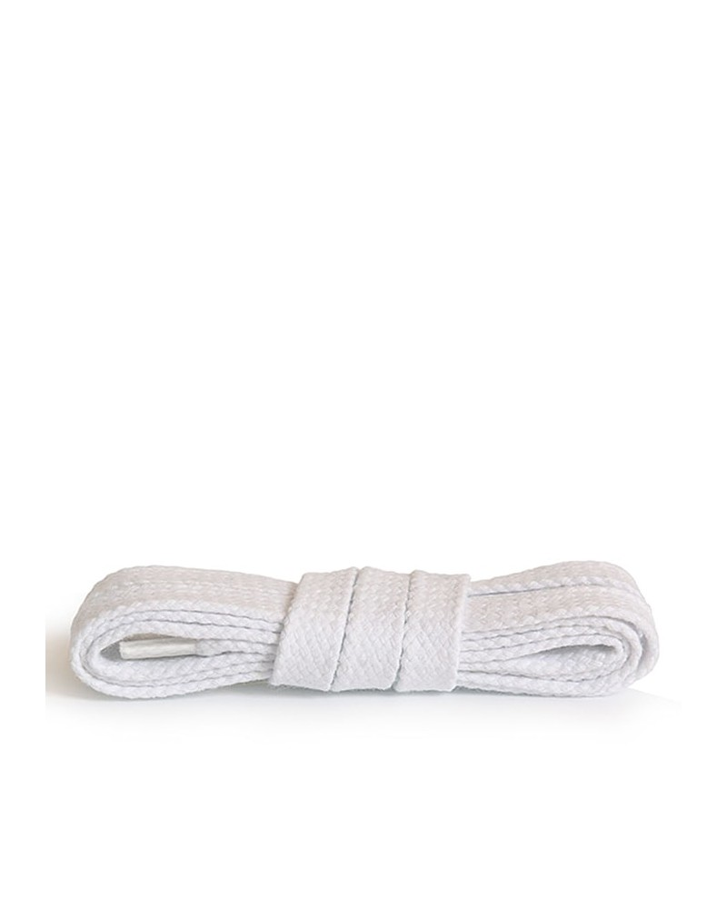 Białe, płaskie, bawełniane sznurówki do butów, 60 cm, Kaps