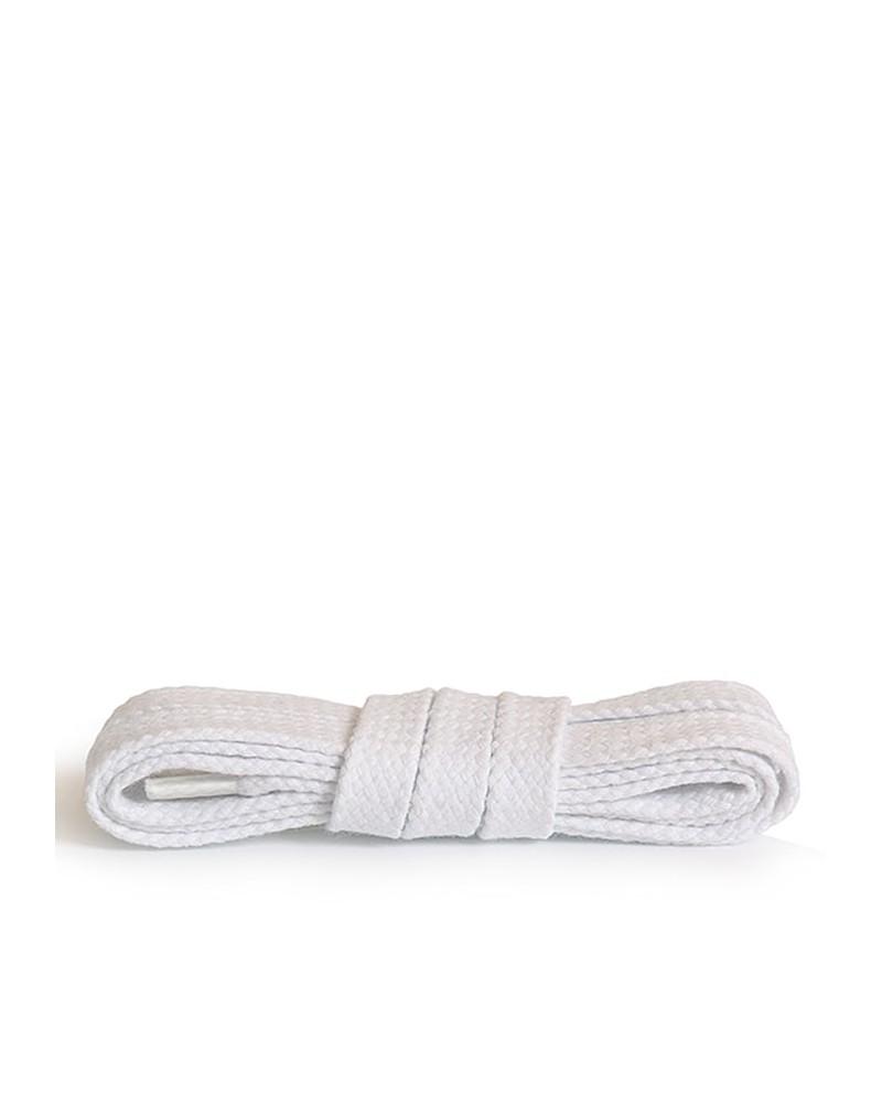 Białe, płaskie, bawełniane sznurówki do butów, 100 cm, Kaps