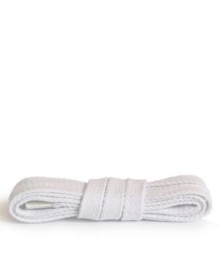 Białe, płaskie, bawełniane sznurówki do butów, 200 cm, Kaps