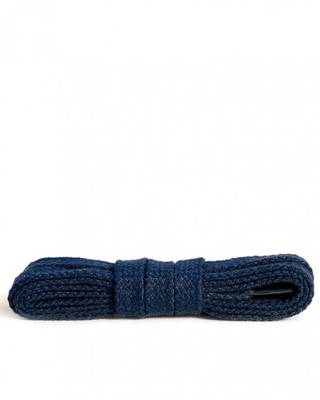 Granatowe, płaskie, bawełniane sznurówki do butów, 150 cm, Kaps