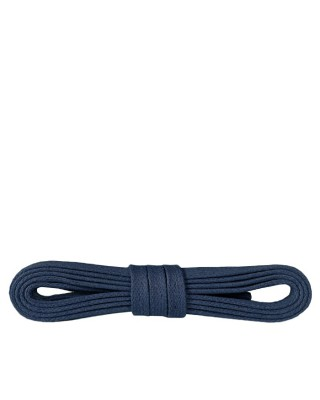 Granatowe, płaskie, woskowane sznurówki do butów, 120 cm, Kaps