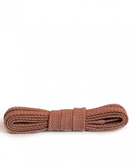Płaskie, bawełniane sznurówki do butów, 90 cm, Kaps, koniak