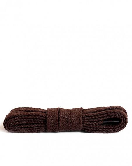 Ciemnobrązowe, płaskie, bawełniane sznurówki do butów, 120 cm, Kaps