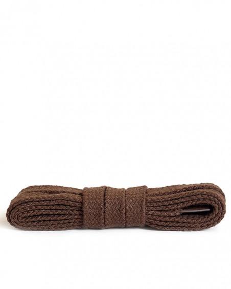 Brązowe, bawełniane sznurówki do butów, płaskie, 100 cm, Kaps