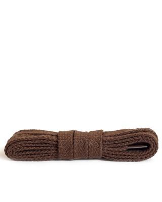 Brązowe, bawełniane sznurówki do butów, płaskie, 120 cm, Kaps