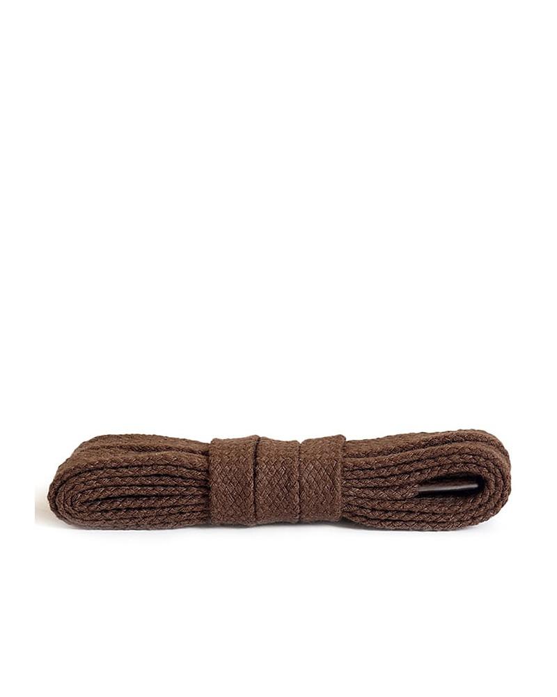 Brązowe, bawełniane sznurówki do butów, płaskie, 200 cm, Kaps