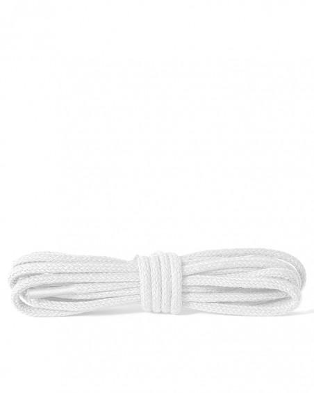 Białe, okrągłe cienkie, sznurówki do butów, 120 cm, Kaps