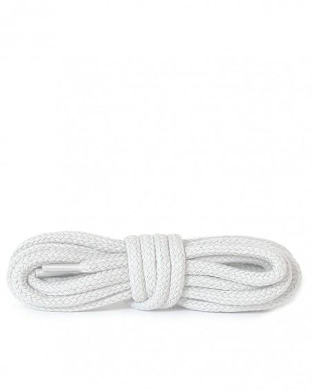 Białe, okrągłe grube, sznurówki do butów, 150 cm, Kaps