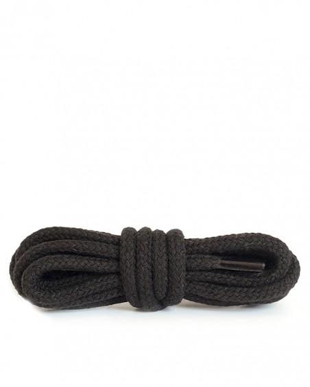 Czarne, okrągłe grube, sznurówki do butów, 180 cm, Kaps