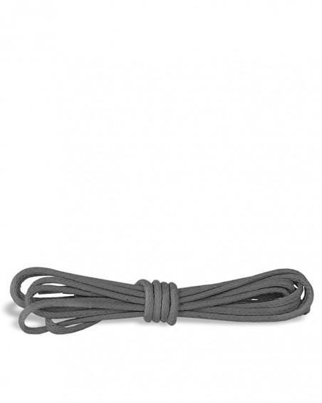 Szare, okrągłe cienkie, woskowane sznurówki do butów, 75 cm, Kaps