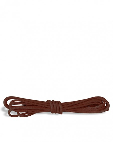 Brązowe, okrągłe cienkie, woskowane sznurówki do butów, 150 cm, Kaps