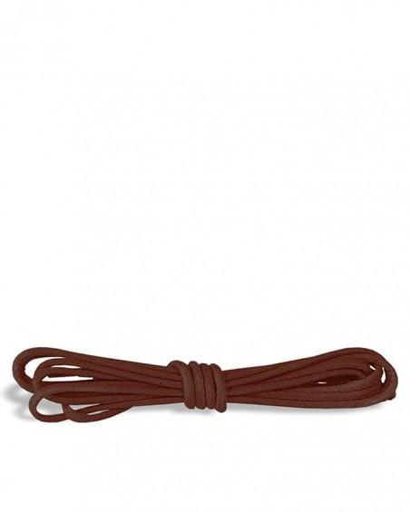 Brązowe, okrągłe cienkie, woskowane sznurówki do butów, 120 cm, Kaps