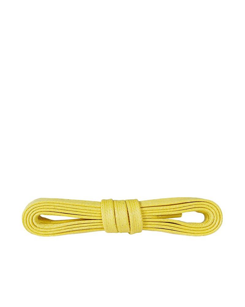 Żółte, płaskie, woskowane sznurówki do butów, 120 cm, Kaps
