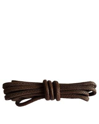 Brązowe, okrągłe grube, woskowane sznurówki do butów, 120 cm, Kaps