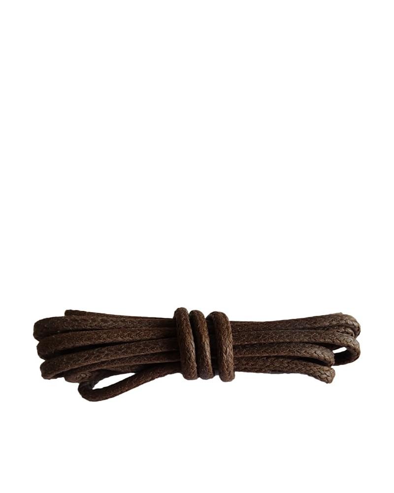 Brązowe, okrągłe grube, woskowane sznurówki do butów, 60 cm, Kaps