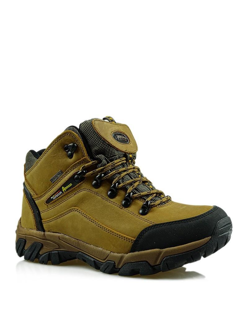 Miodowe, skórzane buty trekkingowe, American Club, TF201303001