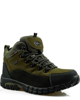 Buty trekkingowe, skórzane, oliwkowe, American Club, TF201303004