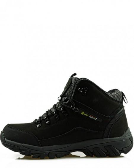 Buty trekkingowe, czarne, skórzane, American Club, TF201303001