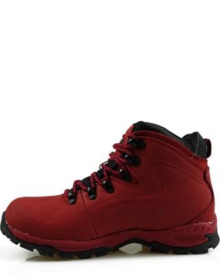 Buty trekkingowe damskie czerwone skórzane LOS9012
