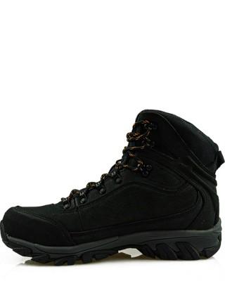 Czarne, skórzane buty trekkingowe, American Club, LOS7570