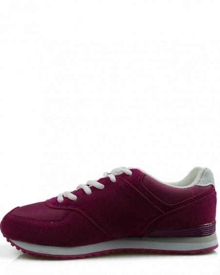 Adidasy damskie, młodzieżowe, bordowe 33101-E