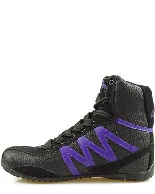 Sneakersy czarne za kostkę, American Club, FO-1401 BP