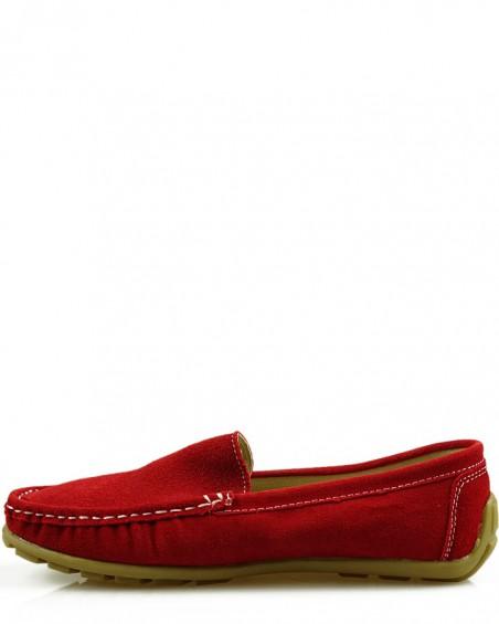 Czerwone, zamszowe, skórzane mokasyny damskie, American Club