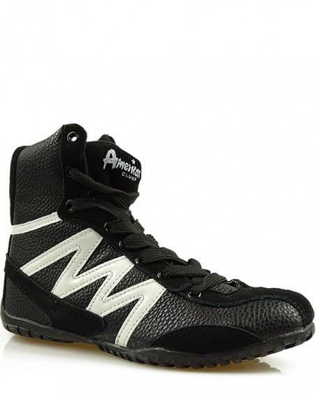 Sneakersy czarne za kostkę, American Club, FO-1401 BW
