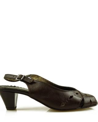 Czółenka damskie, skórzane, z odkrytą piętą, brązowe, 6810 Di-Marco