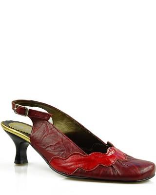 Czółenka damskie, skórzane, z odkrytą piętą, czerwone, 223, Stagórs