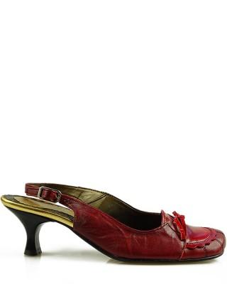 Czółenka damskie, skórzane, z odkrytą piętą, czerwone, 225, Stagórs