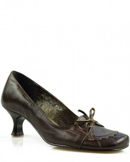 Czółenka damskie, skórzane, brązowe, 0225, Stagórs