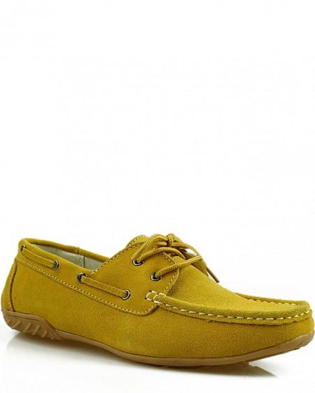 Żółte, zamszowe mokasyny skórzane, skórzane, damskie, American