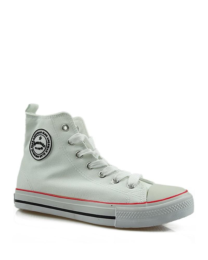 Białe trampki męskie, sneakersy za kostkę, AK 9120-4