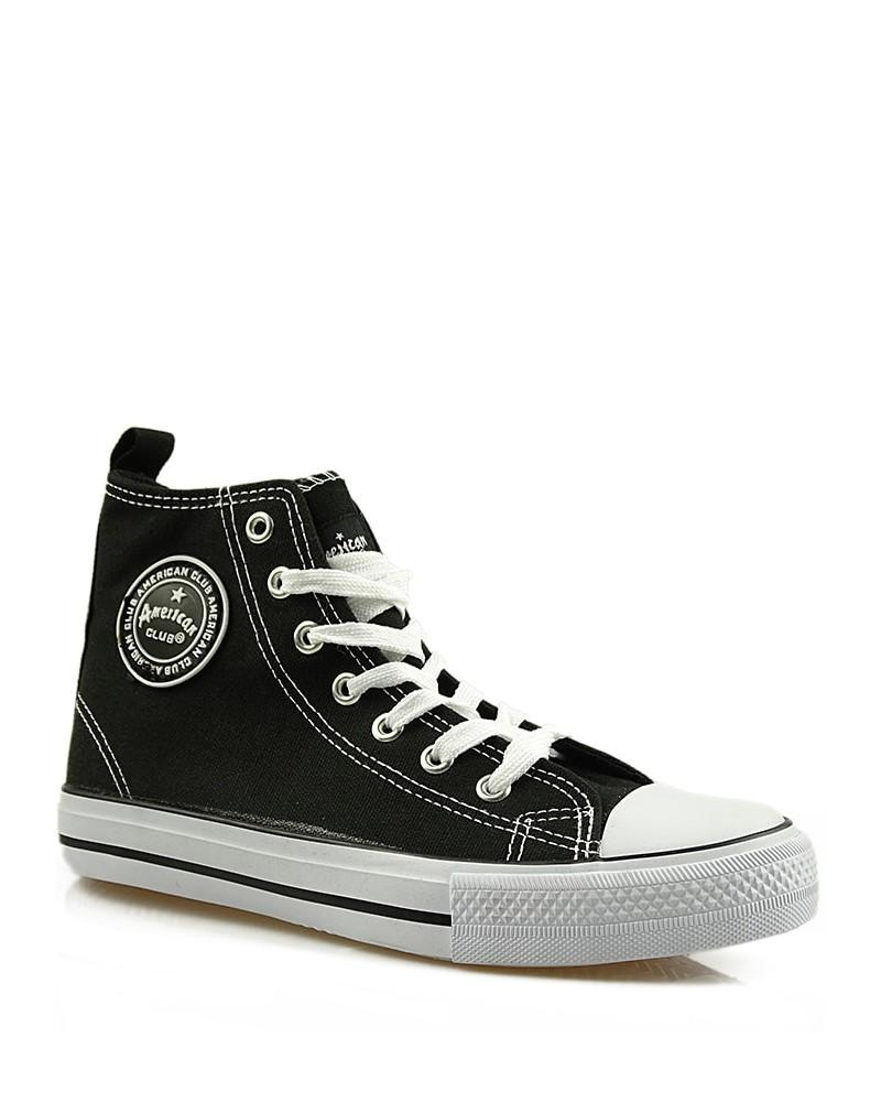 Czarne trampki, sneakersy za kostkę, AK 9120-10